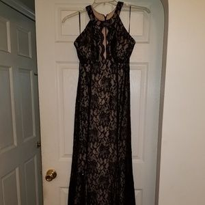 Nightway Black Lace Evening Gown